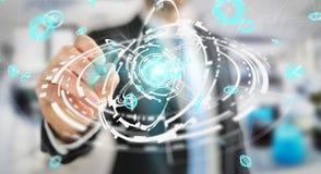 Uomo d'affari facendo uso del renderi dell'interfaccia 3D della connessione di rete di volo Immagini Stock