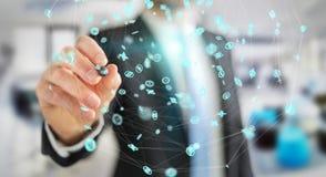 Uomo d'affari facendo uso del renderi dell'interfaccia 3D della connessione di rete di volo Fotografia Stock Libera da Diritti