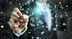 Uomo d'affari facendo uso del renderi dell'interfaccia 3D della connessione di rete di volo Fotografia Stock