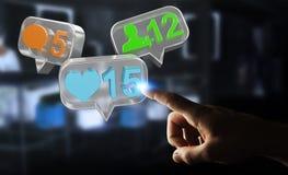 Uomo d'affari facendo uso del renderi sociale variopinto digitale delle icone 3D di media Immagini Stock Libere da Diritti