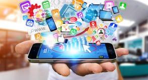 Uomo d'affari facendo uso del telefono cellulare moderno Immagini Stock Libere da Diritti