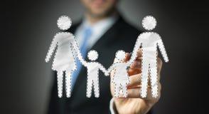 Uomo d'affari facendo uso dell'interfaccia della famiglia con un renderi digitale della penna 3D Immagine Stock