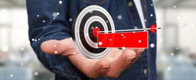 Uomo d'affari facendo uso dell'obiettivo della rappresentazione 3D Fotografie Stock Libere da Diritti