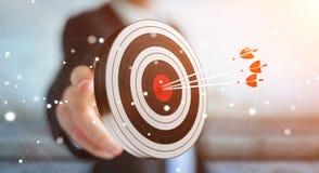 Uomo d'affari facendo uso dell'obiettivo della rappresentazione 3D Immagine Stock Libera da Diritti