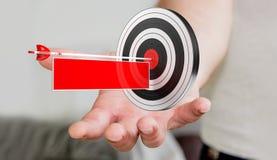 Uomo d'affari facendo uso dell'obiettivo della rappresentazione 3D Fotografie Stock