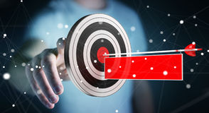 Uomo d'affari facendo uso dell'obiettivo della rappresentazione 3D Immagini Stock