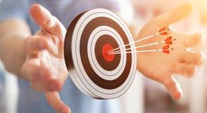 Uomo d'affari facendo uso dell'obiettivo della rappresentazione 3D Fotografia Stock Libera da Diritti