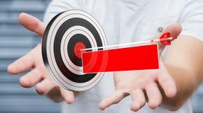 Uomo d'affari facendo uso dell'obiettivo della rappresentazione 3D Fotografia Stock