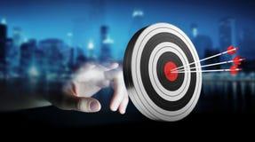 Uomo d'affari facendo uso dell'obiettivo della rappresentazione 3D Immagine Stock