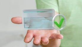 Uomo d'affari facendo uso della carta di credito per pagare rappresentazione online 3D Fotografie Stock