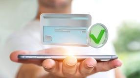 Uomo d'affari facendo uso della carta di credito per pagare rappresentazione online 3D Immagine Stock