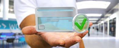 Uomo d'affari facendo uso della carta di credito per pagare rappresentazione online 3D Immagini Stock Libere da Diritti