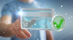 Uomo d'affari facendo uso della carta di credito per pagare rappresentazione online 3D Fotografia Stock