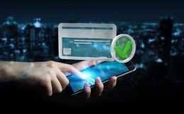 Uomo d'affari facendo uso della carta di credito per pagare rappresentazione online 3D Fotografia Stock Libera da Diritti