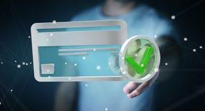 Uomo d'affari facendo uso della carta di credito per pagare rappresentazione online 3D Immagine Stock Libera da Diritti