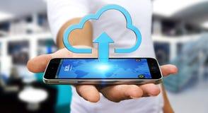 Uomo d'affari facendo uso della nuvola Immagine Stock Libera da Diritti
