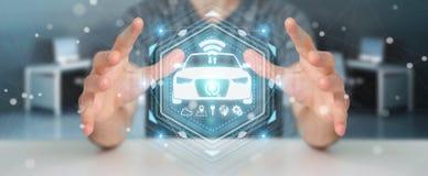 Uomo d'affari facendo uso della rappresentazione astuta moderna dell'interfaccia 3D dell'automobile Immagini Stock