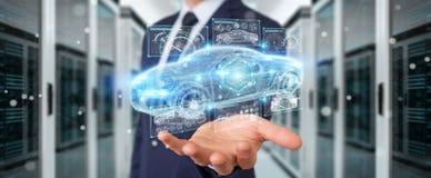 Uomo d'affari facendo uso della rappresentazione astuta moderna dell'interfaccia 3D dell'automobile Immagine Stock Libera da Diritti