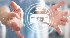 Uomo d'affari facendo uso della rappresentazione astuta moderna dell'interfaccia 3D dell'automobile Fotografia Stock