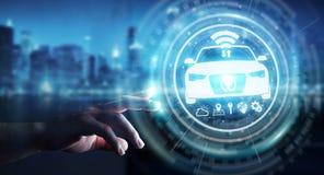 Uomo d'affari facendo uso della rappresentazione astuta moderna dell'interfaccia 3D dell'automobile Fotografia Stock Libera da Diritti