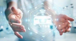Uomo d'affari facendo uso della rappresentazione astuta moderna dell'interfaccia 3D dell'automobile Fotografie Stock Libere da Diritti