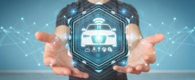 Uomo d'affari facendo uso della rappresentazione astuta moderna dell'interfaccia 3D dell'automobile Fotografie Stock