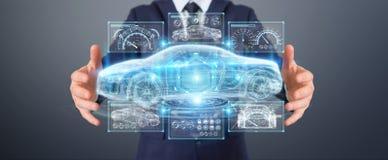 Uomo d'affari facendo uso della rappresentazione astuta moderna dell'interfaccia 3D dell'automobile Immagine Stock
