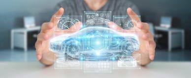 Uomo d'affari facendo uso della rappresentazione astuta moderna dell'interfaccia 3D dell'automobile Immagini Stock Libere da Diritti