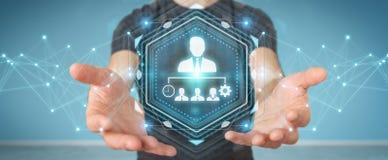 Uomo d'affari facendo uso della rappresentazione del grafico 3D di direzione di affari Immagine Stock