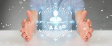 Uomo d'affari facendo uso della rappresentazione del grafico 3D di direzione di affari Immagini Stock