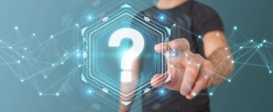 Uomo d'affari facendo uso della rappresentazione dell'interfaccia digitale 3D dei punti interrogativi Fotografia Stock