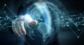 Uomo d'affari facendo uso della rappresentazione dell'interfaccia 3D della mappa di mondo di U.S.A. Immagine Stock Libera da Diritti