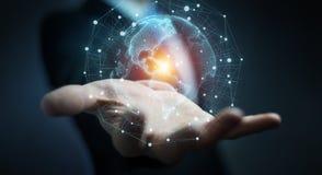 Uomo d'affari facendo uso della rappresentazione dell'interfaccia 3D della mappa di mondo di U.S.A. Immagine Stock