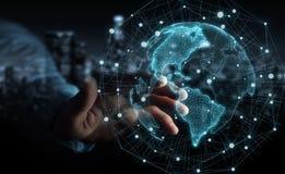 Uomo d'affari facendo uso della rappresentazione dell'interfaccia 3D della mappa di mondo di U.S.A. Immagini Stock