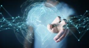 Uomo d'affari facendo uso della rappresentazione dell'interfaccia 3D della mappa di mondo di U.S.A. Fotografie Stock Libere da Diritti