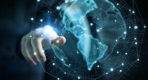 Uomo d'affari facendo uso della rappresentazione dell'interfaccia 3D della mappa di mondo di U.S.A. Fotografie Stock