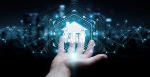 Uomo d'affari facendo uso della rappresentazione di applicazione 3D di assicurazione di cura della famiglia Fotografia Stock