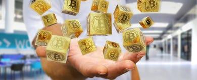 Uomo d'affari facendo uso della rappresentazione di cryptocurrency 3D dei bitcoins illustrazione di stock