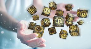 Uomo d'affari facendo uso della rappresentazione di cryptocurrency 3D dei bitcoins illustrazione vettoriale