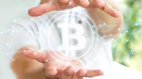 Uomo d'affari facendo uso della rappresentazione di cryptocurrency 3D dei bitcoins royalty illustrazione gratis