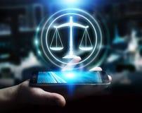 Uomo d'affari facendo uso della rappresentazione di destra 3D di protezione di legge Fotografie Stock Libere da Diritti