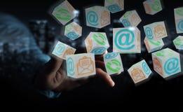 Uomo d'affari facendo uso della rappresentazione di galleggiamento del contatto 3D del cubo Fotografie Stock Libere da Diritti