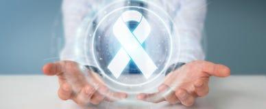 Uomo d'affari facendo uso della rappresentazione digitale dell'interfaccia 3D del cancro del nastro Fotografia Stock