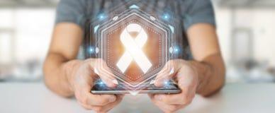 Uomo d'affari facendo uso della rappresentazione digitale dell'interfaccia 3D del cancro del nastro Immagini Stock Libere da Diritti