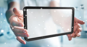 Uomo d'affari facendo uso della rappresentazione digitale della compressa 3D degli schermi Immagine Stock Libera da Diritti