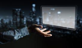 Uomo d'affari facendo uso della rappresentazione digitale della compressa 3D degli schermi Immagini Stock