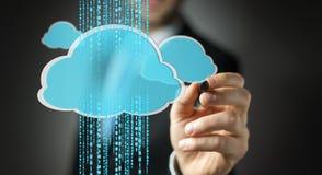 Uomo d'affari facendo uso della rappresentazione digitale della nuvola 3D Immagini Stock Libere da Diritti