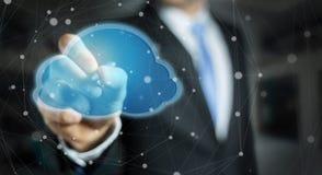 Uomo d'affari facendo uso della rappresentazione digitale della nuvola 3D Immagine Stock