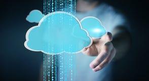 Uomo d'affari facendo uso della rappresentazione digitale della nuvola 3D Fotografia Stock Libera da Diritti