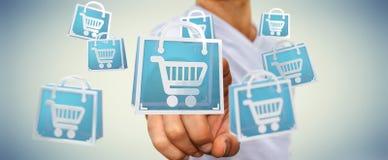 Uomo d'affari facendo uso della rappresentazione digitale delle icone 3D di acquisto Fotografie Stock Libere da Diritti